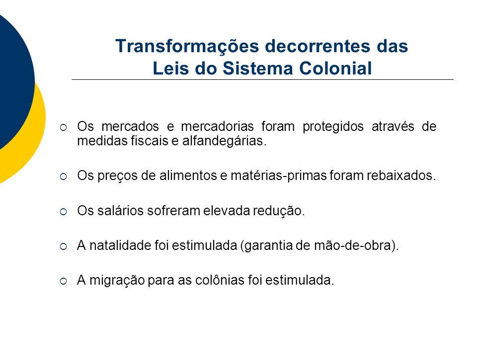 Transformações decorrentes das Leis do Sistema Colonial Os mercados e mercadorias foram protegidos através de medidas fiscais e alfandegárias. Os preç