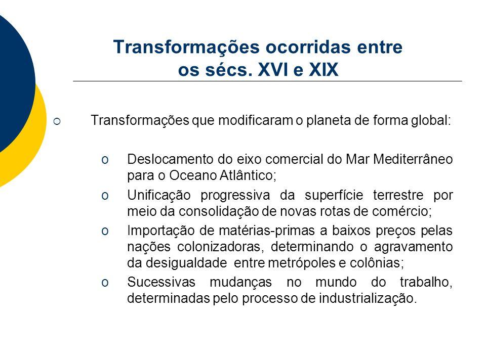 Transformações ocorridas entre os sécs. XVI e XIX Transformações que modificaram o planeta de forma global: oDeslocamento do eixo comercial do Mar Med