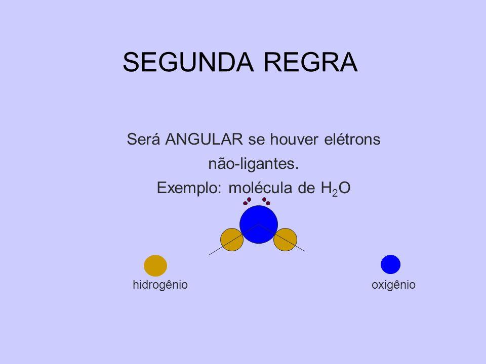 Será ANGULAR se houver elétrons não-ligantes. Exemplo: molécula de H 2 O hidrogênio oxigênio