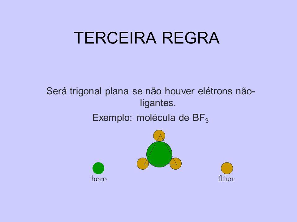 TERCEIRA REGRA Será trigonal plana se não houver elétrons não- ligantes. Exemplo: molécula de BF 3 boro flúor