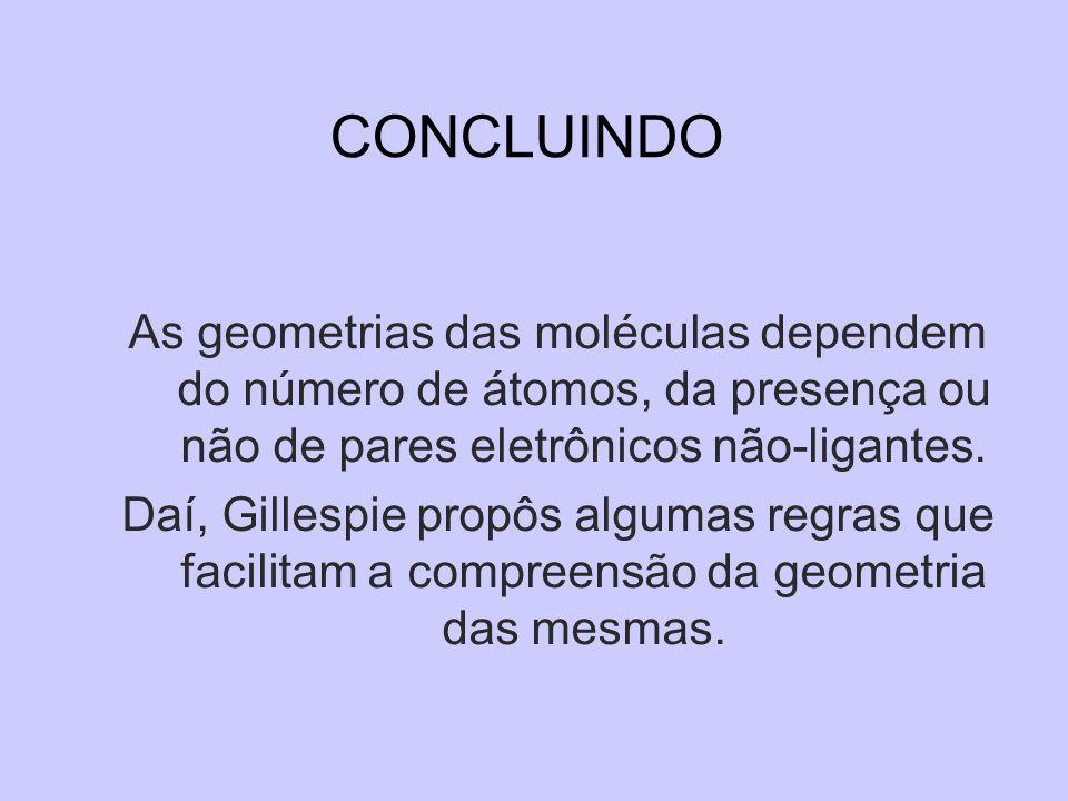 CONCLUINDO As geometrias das moléculas dependem do número de átomos, da presença ou não de pares eletrônicos não-ligantes. Daí, Gillespie propôs algum