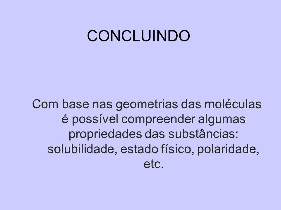 CONCLUINDO Com base nas geometrias das moléculas é possível compreender algumas propriedades das substâncias: solubilidade, estado físico, polaridade,