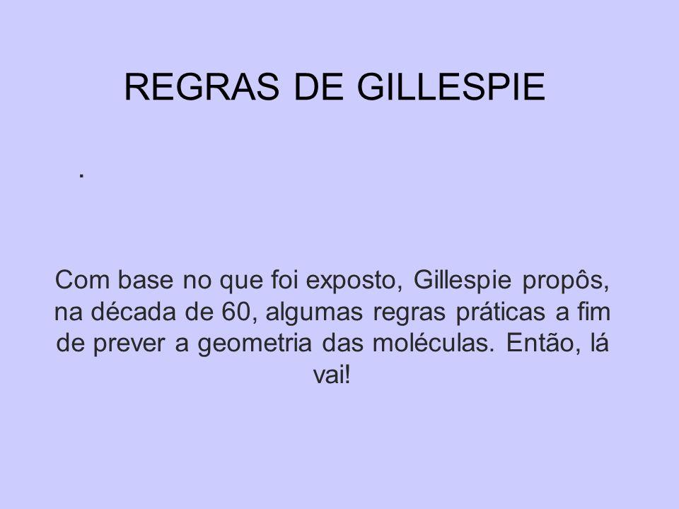 REGRAS DE GILLESPIE. Com base no que foi exposto, Gillespie propôs, na década de 60, algumas regras práticas a fim de prever a geometria das moléculas