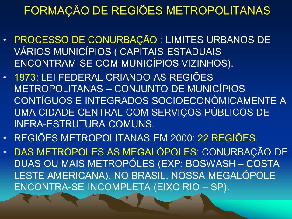 FORMAÇÃO DE REGIÕES METROPOLITANAS PROCESSO DE CONURBAÇÃO : LIMITES URBANOS DE VÁRIOS MUNICÍPIOS ( CAPITAIS ESTADUAIS ENCONTRAM-SE COM MUNICÍPIOS VIZI