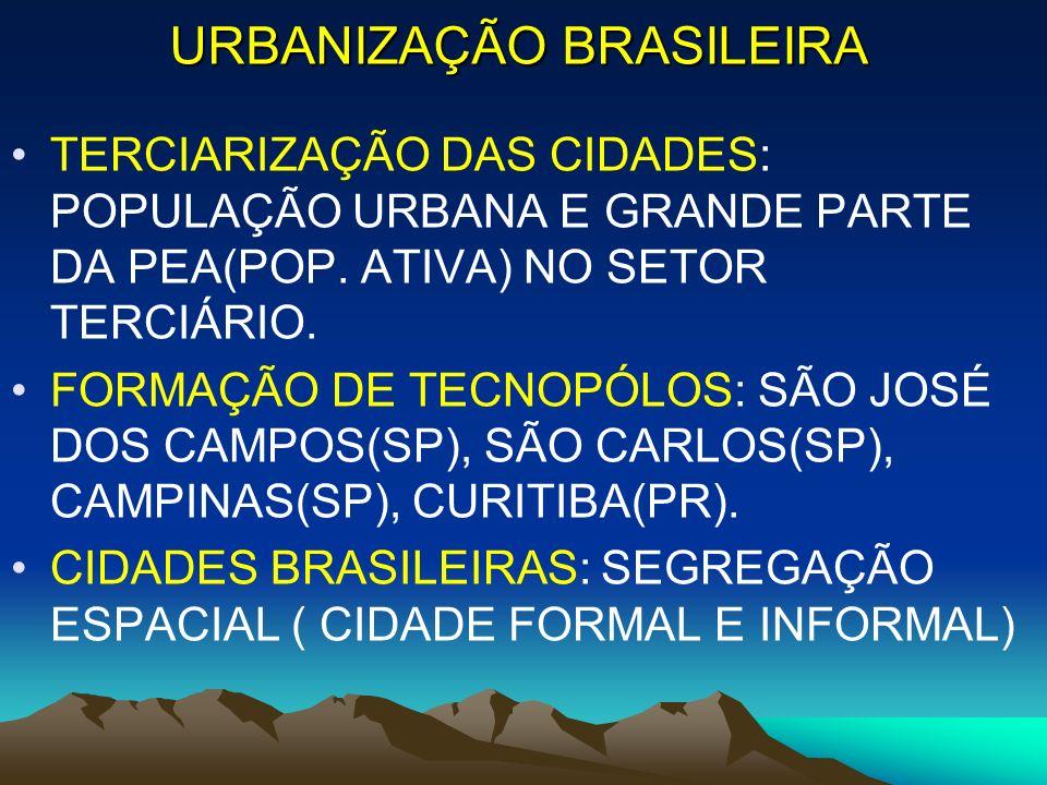 URBANIZAÇÃO BRASILEIRA TERCIARIZAÇÃO DAS CIDADES: POPULAÇÃO URBANA E GRANDE PARTE DA PEA(POP. ATIVA) NO SETOR TERCIÁRIO. FORMAÇÃO DE TECNOPÓLOS: SÃO J