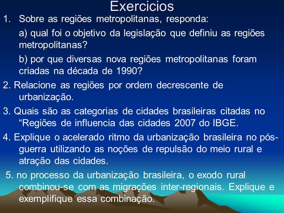 Exercicios 1.Sobre as regiões metropolitanas, responda: a) qual foi o objetivo da legislação que definiu as regiões metropolitanas? b) por que diversa