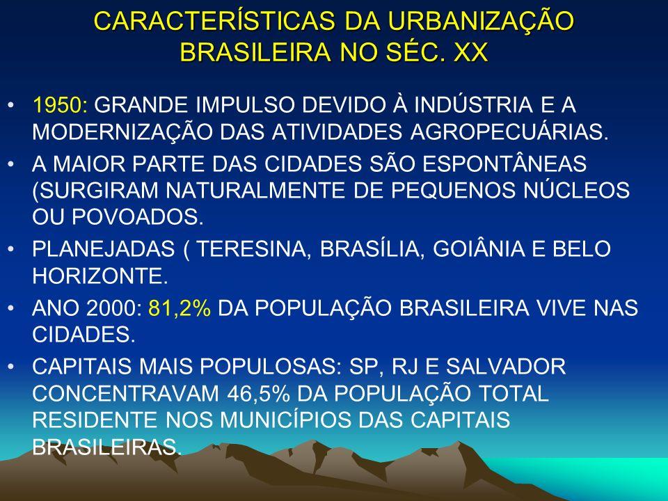 CARACTERÍSTICAS DA URBANIZAÇÃO BRASILEIRA NO SÉC. XX 1950: GRANDE IMPULSO DEVIDO À INDÚSTRIA E A MODERNIZAÇÃO DAS ATIVIDADES AGROPECUÁRIAS. A MAIOR PA