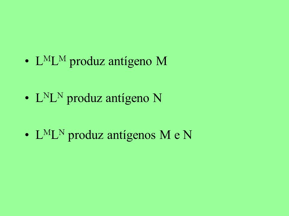 L M L M produz antígeno M L N L N produz antígeno N L M L N produz antígenos M e N