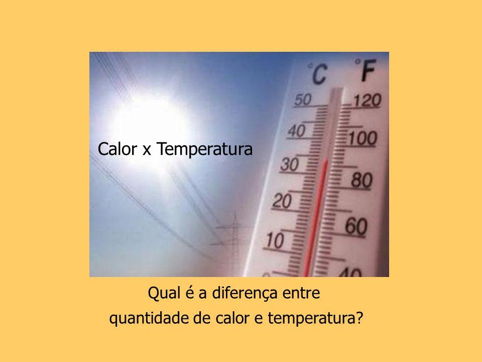 Calor x Temperatura Qual é a diferença entre quantidade de calor e temperatura?