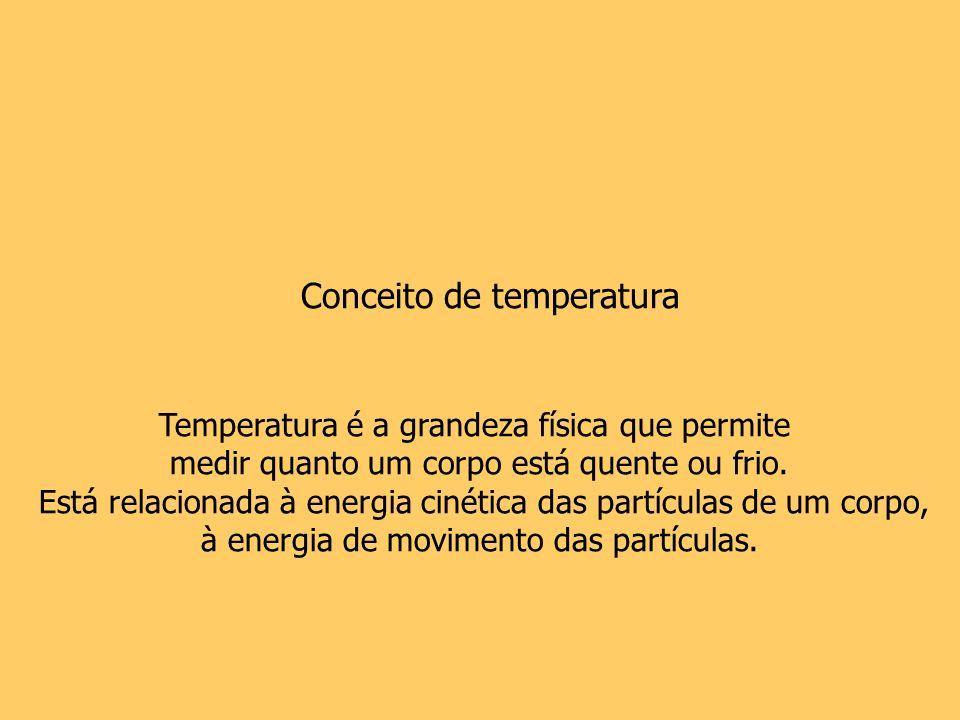 Conceito de temperatura Temperatura é a grandeza física que permite medir quanto um corpo está quente ou frio. Está relacionada à energia cinética das