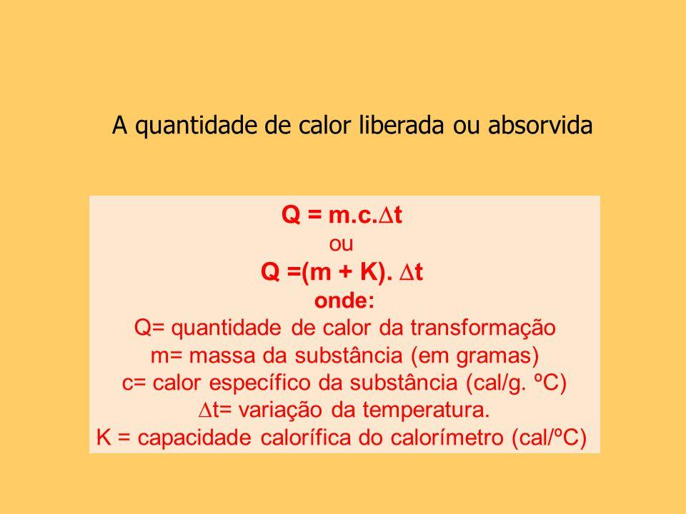 Q = m.c. t ou Q =(m + K). t onde: Q= quantidade de calor da transformação m= massa da substância (em gramas) c= calor específico da substância (cal/g.