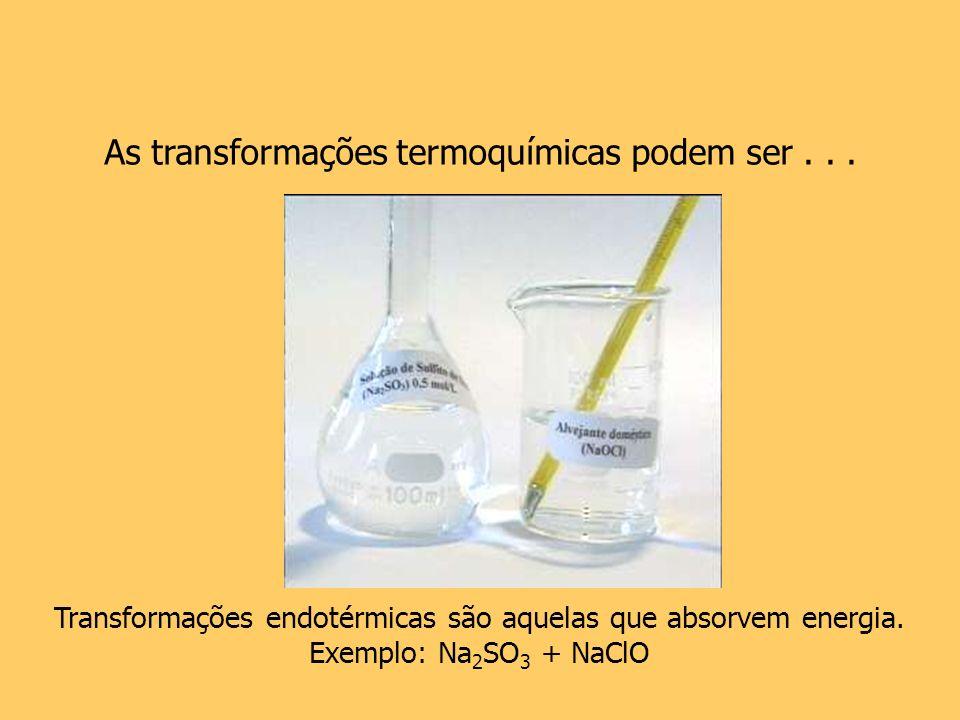 As transformações termoquímicas podem ser... Transformações endotérmicas são aquelas que absorvem energia. Exemplo: Na 2 SO 3 + NaClO