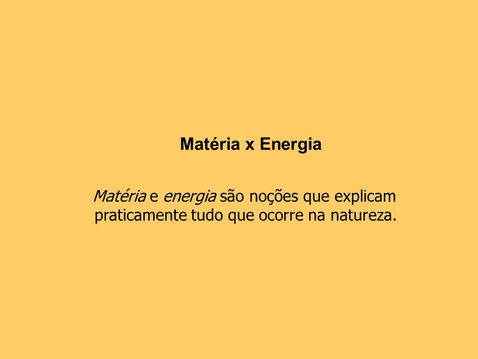 Matéria e energia são noções que explicam praticamente tudo que ocorre na natureza. Matéria x Energia