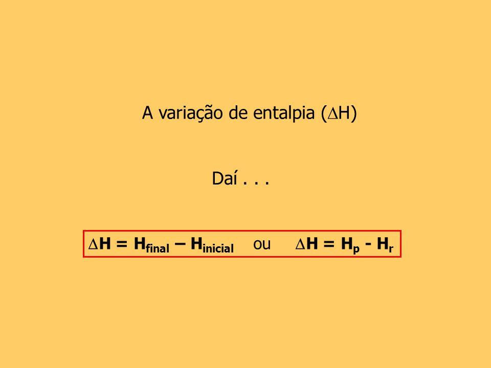 Daí... A variação de entalpia ( H) H = H final – H inicial ou H = H p - H r