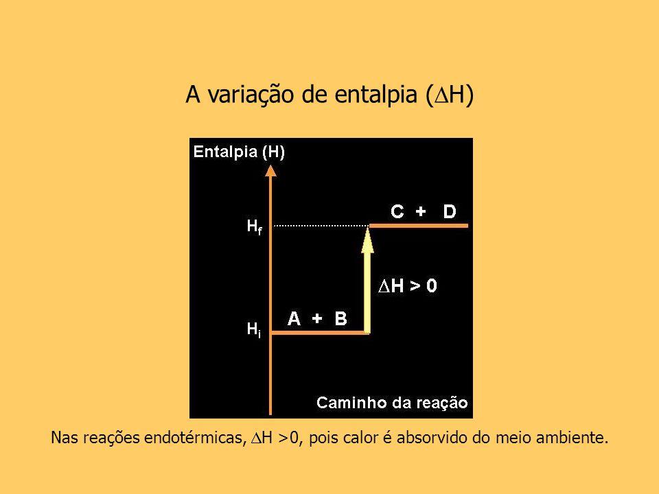 A variação de entalpia ( H) Nas reações endotérmicas, H >0, pois calor é absorvido do meio ambiente.