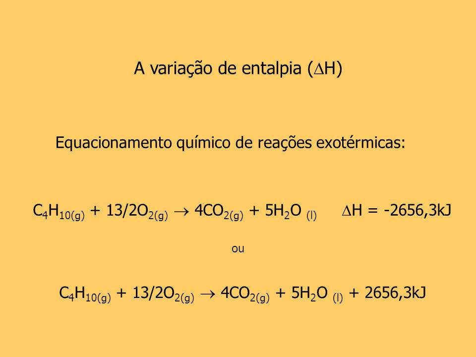 A variação de entalpia ( H) Equacionamento químico de reações exotérmicas: C 4 H 10(g) + 13/2O 2(g) 4CO 2(g) + 5H 2 O (l) H = -2656,3kJ ou C 4 H 10(g)