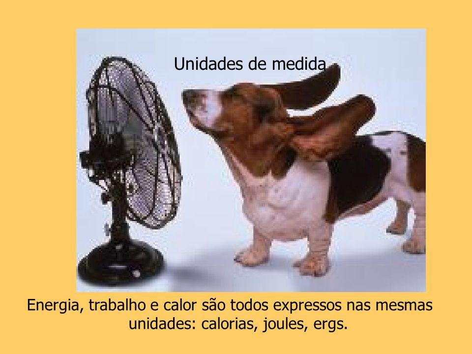 Energia, trabalho e calor são todos expressos nas mesmas unidades: calorias, joules, ergs. Unidades de medida