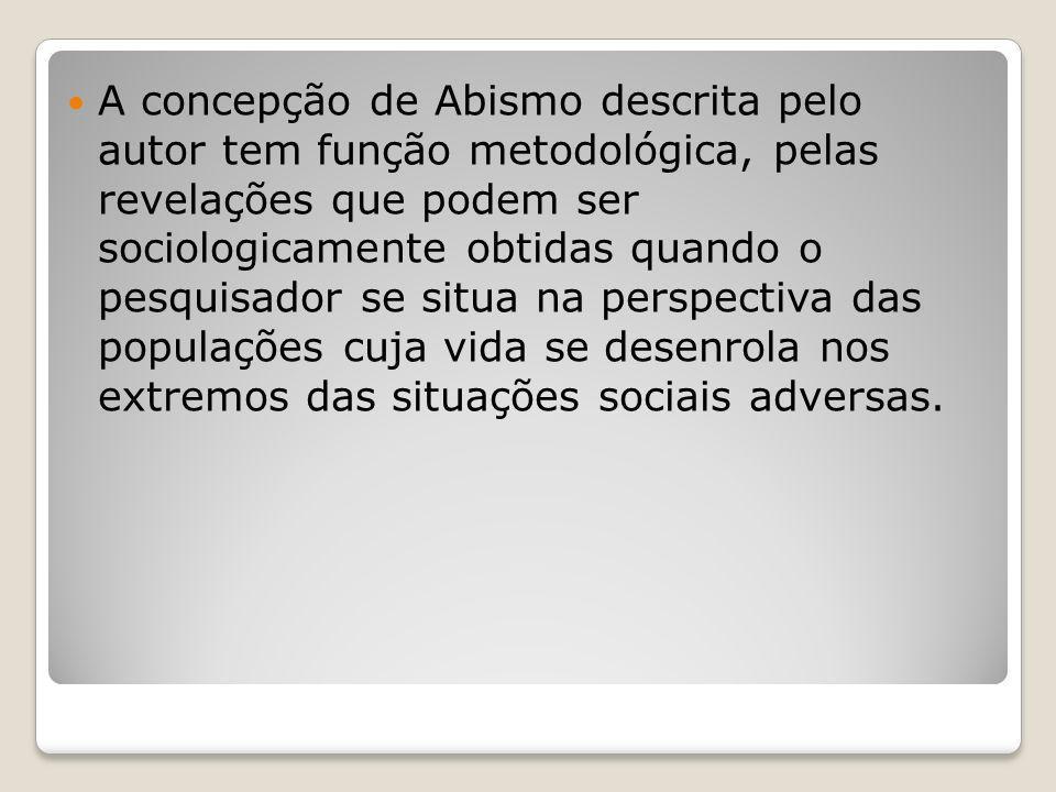 A concepção de Abismo descrita pelo autor tem função metodológica, pelas revelações que podem ser sociologicamente obtidas quando o pesquisador se sit