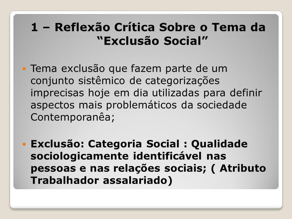 1 – Reflexão Crítica Sobre o Tema da Exclusão Social Tema exclusão que fazem parte de um conjunto sistêmico de categorizações imprecisas hoje em dia u