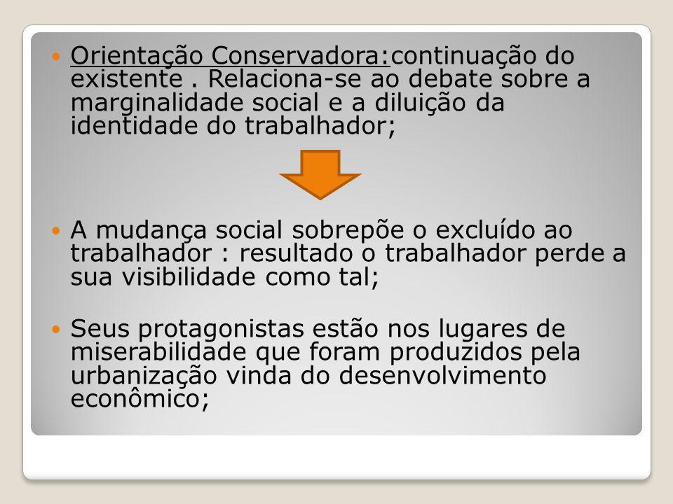 Orientação Conservadora:continuação do existente. Relaciona-se ao debate sobre a marginalidade social e a diluição da identidade do trabalhador; A mud