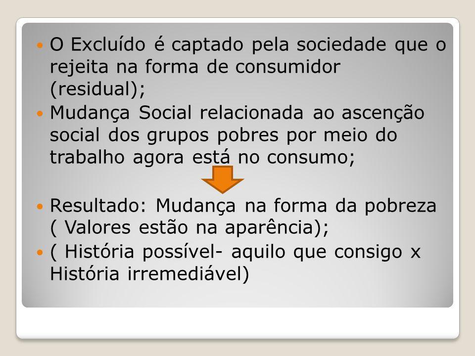 O Excluído é captado pela sociedade que o rejeita na forma de consumidor (residual); Mudança Social relacionada ao ascenção social dos grupos pobres p