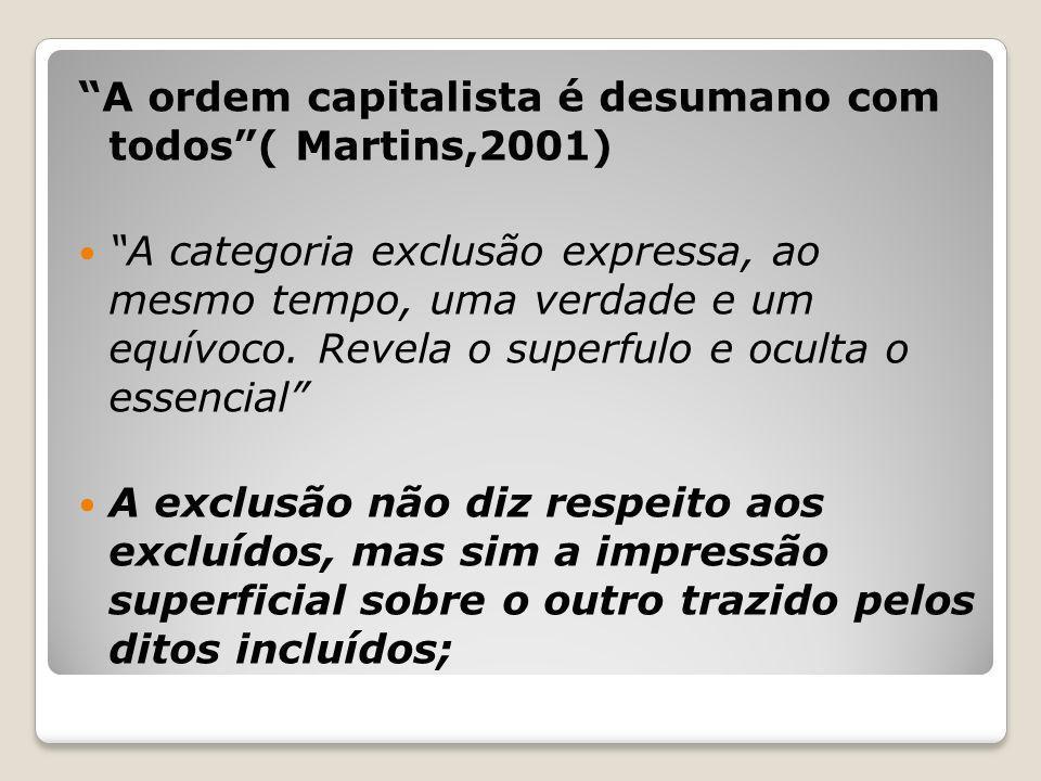 A ordem capitalista é desumano com todos( Martins,2001) A categoria exclusão expressa, ao mesmo tempo, uma verdade e um equívoco. Revela o superfulo e