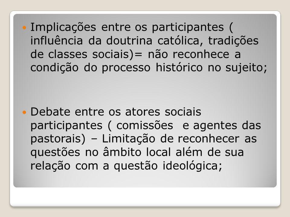 Implicações entre os participantes ( influência da doutrina católica, tradições de classes sociais)= não reconhece a condição do processo histórico no