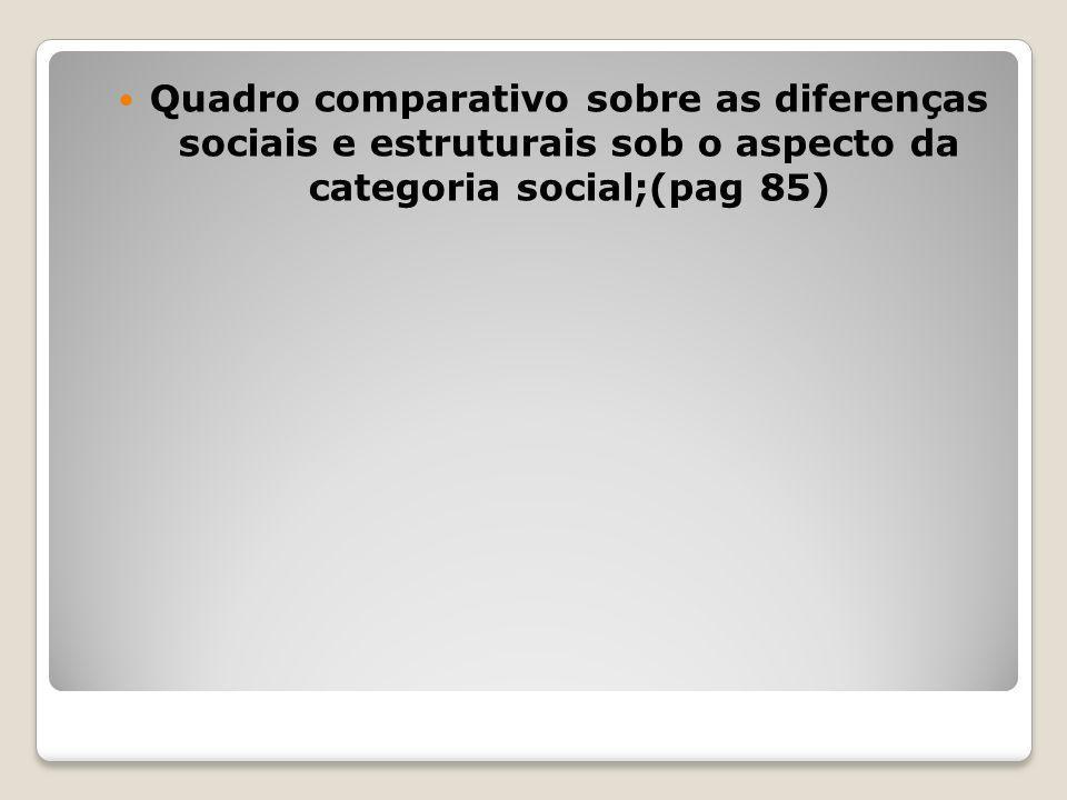 Quadro comparativo sobre as diferenças sociais e estruturais sob o aspecto da categoria social;(pag 85)