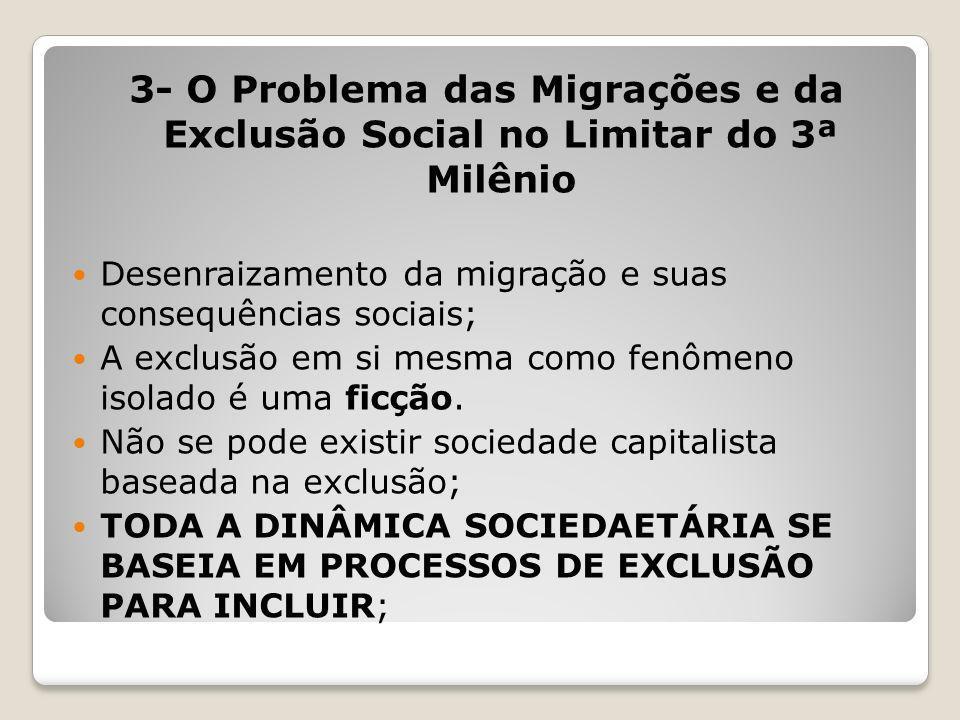 3- O Problema das Migrações e da Exclusão Social no Limitar do 3ª Milênio Desenraizamento da migração e suas consequências sociais; A exclusão em si m