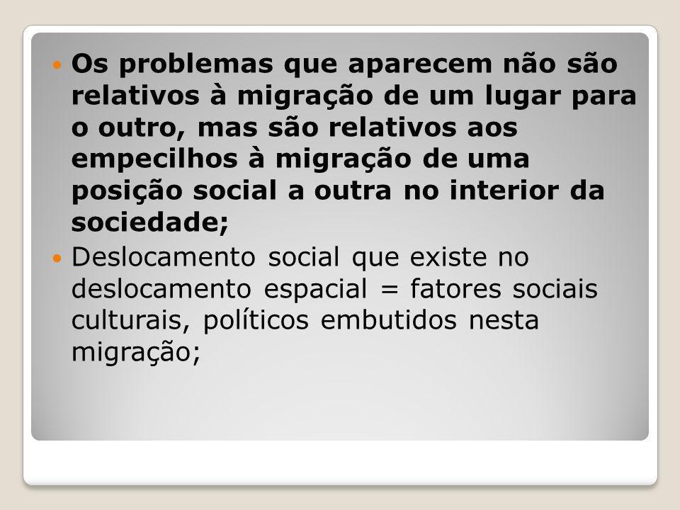 Os problemas que aparecem não são relativos à migração de um lugar para o outro, mas são relativos aos empecilhos à migração de uma posição social a o