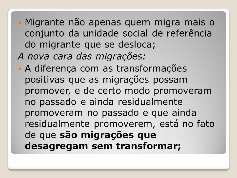 Migrante não apenas quem migra mais o conjunto da unidade social de referência do migrante que se desloca; A nova cara das migrações: A diferença com