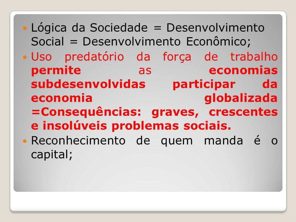 Lógica da Sociedade = Desenvolvimento Social = Desenvolvimento Econômico; Uso predatório da força de trabalho permite as economias subdesenvolvidas pa