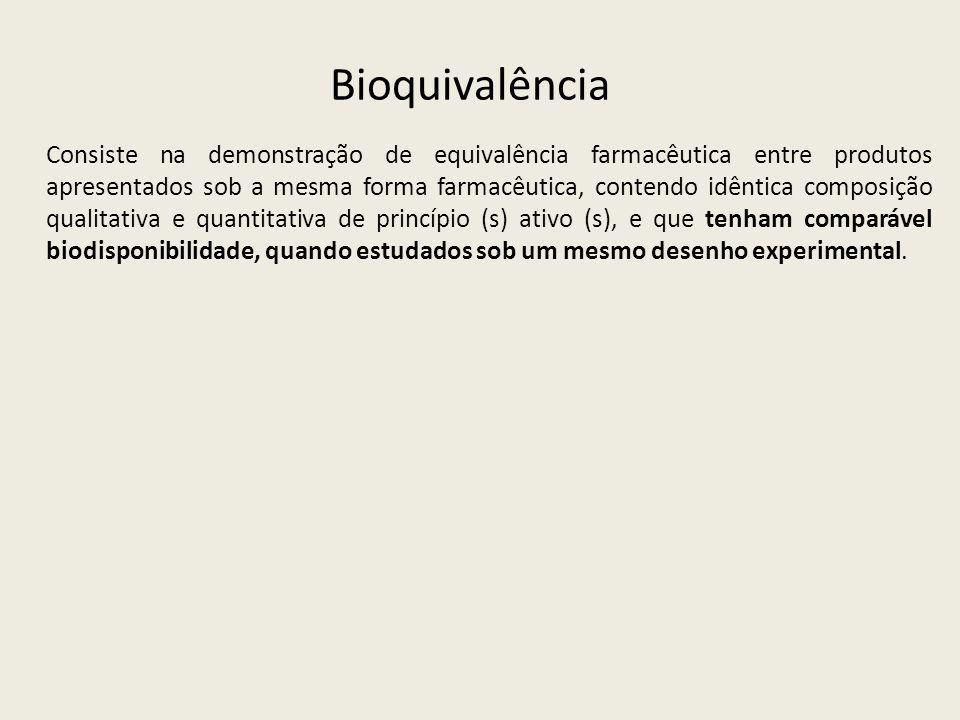 Bioquivalência Consiste na demonstração de equivalência farmacêutica entre produtos apresentados sob a mesma forma farmacêutica, contendo idêntica com