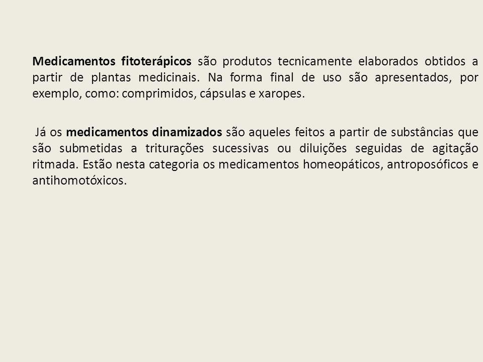 Medicamentos fitoterápicos são produtos tecnicamente elaborados obtidos a partir de plantas medicinais. Na forma final de uso são apresentados, por ex