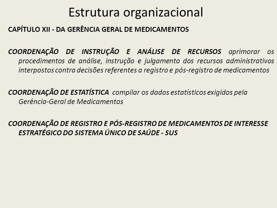 Estrutura organizacional CAPÍTULO XII - DA GERÊNCIA GERAL DE MEDICAMENTOS COORDENAÇÃO DE INSTRUÇÃO E ANÁLISE DE RECURSOS aprimorar os procedimentos de análise, instrução e julgamento dos recursos administrativos interpostos contra decisões referentes a registro e pós-registro de medicamentos COORDENAÇÃO DE ESTATÍSTICA compilar os dados estatísticos exigidos pela Gerência-Geral de Medicamentos COORDENAÇÃO DE REGISTRO E PÓS-REGISTRO DE MEDICAMENTOS DE INTERESSE ESTRATÉGICO DO SISTEMA ÚNICO DE SAÚDE - SUS