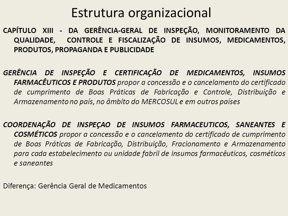 Estrutura organizacional CAPÍTULO XIII - DA GERÊNCIA-GERAL DE INSPEÇÃO, MONITORAMENTO DA QUALIDADE, CONTROLE E FISCALIZAÇÃO DE INSUMOS, MEDICAMENTOS, PRODUTOS, PROPAGANDA E PUBLICIDADE GERÊNCIA DE INSPEÇÃO E CERTIFICAÇÃO DE MEDICAMENTOS, INSUMOS FARMACÊUTICOS E PRODUTOS propor a concessão e o cancelamento do certificado de cumprimento de Boas Práticas de Fabricação e Controle, Distribuição e Armazenamento no país, no âmbito do MERCOSUL e em outros países COORDENAÇÃO DE INSPEÇAO DE INSUMOS FARMACEUTICOS, SANEANTES E COSMÉTICOS propor a concessão e o cancelamento do certificado de cumprimento de Boas Práticas de Fabricação, Distribuição, Fracionamento e Armazenamento para cada estabelecimento ou unidade fabril de insumos farmacêuticos, cosméticos e saneantes Diferença: Gerência Geral de Medicamentos