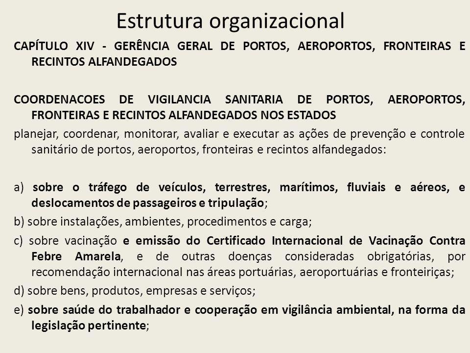 Estrutura organizacional CAPÍTULO XIV - GERÊNCIA GERAL DE PORTOS, AEROPORTOS, FRONTEIRAS E RECINTOS ALFANDEGADOS COORDENACOES DE VIGILANCIA SANITARIA DE PORTOS, AEROPORTOS, FRONTEIRAS E RECINTOS ALFANDEGADOS NOS ESTADOS planejar, coordenar, monitorar, avaliar e executar as ações de prevenção e controle sanitário de portos, aeroportos, fronteiras e recintos alfandegados: a) sobre o tráfego de veículos, terrestres, marítimos, fluviais e aéreos, e deslocamentos de passageiros e tripulação; b) sobre instalações, ambientes, procedimentos e carga; c) sobre vacinação e emissão do Certificado Internacional de Vacinação Contra Febre Amarela, e de outras doenças consideradas obrigatórias, por recomendação internacional nas áreas portuárias, aeroportuárias e fronteiriças; d) sobre bens, produtos, empresas e serviços; e) sobre saúde do trabalhador e cooperação em vigilância ambiental, na forma da legislação pertinente;