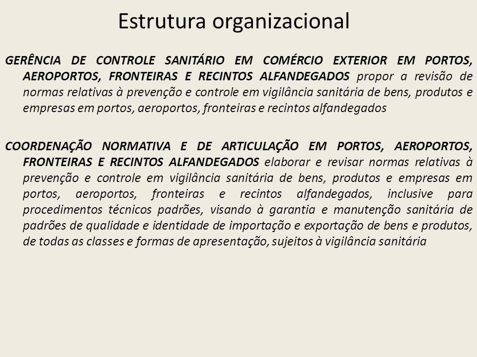 Estrutura organizacional GERÊNCIA DE CONTROLE SANITÁRIO EM COMÉRCIO EXTERIOR EM PORTOS, AEROPORTOS, FRONTEIRAS E RECINTOS ALFANDEGADOS propor a revisã