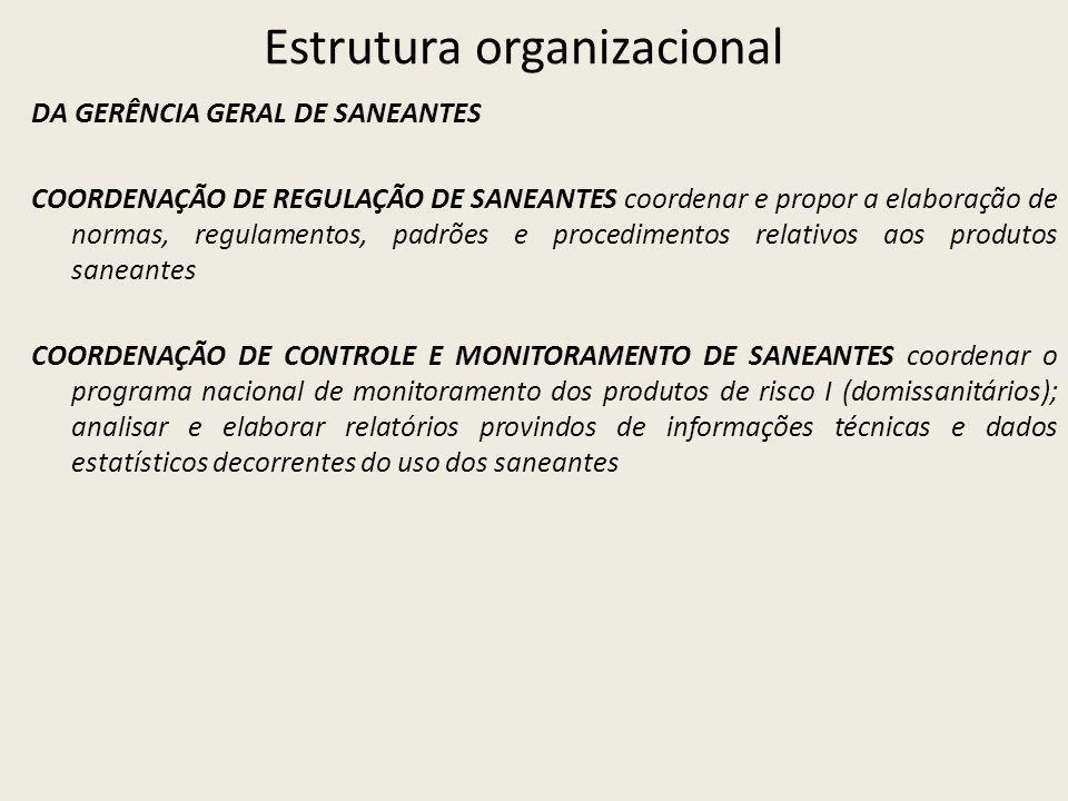 Estrutura organizacional DA GERÊNCIA GERAL DE SANEANTES COORDENAÇÃO DE REGULAÇÃO DE SANEANTES coordenar e propor a elaboração de normas, regulamentos, padrões e procedimentos relativos aos produtos saneantes COORDENAÇÃO DE CONTROLE E MONITORAMENTO DE SANEANTES coordenar o programa nacional de monitoramento dos produtos de risco I (domissanitários); analisar e elaborar relatórios provindos de informações técnicas e dados estatísticos decorrentes do uso dos saneantes