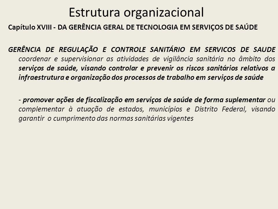 Estrutura organizacional Capítulo XVIII - DA GERÊNCIA GERAL DE TECNOLOGIA EM SERVIÇOS DE SAÚDE GERÊNCIA DE REGULAÇÃO E CONTROLE SANITÁRIO EM SERVICOS