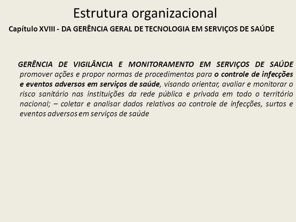 Estrutura organizacional Capítulo XVIII - DA GERÊNCIA GERAL DE TECNOLOGIA EM SERVIÇOS DE SAÚDE GERÊNCIA DE VIGILÂNCIA E MONITORAMENTO EM SERVIÇOS DE S