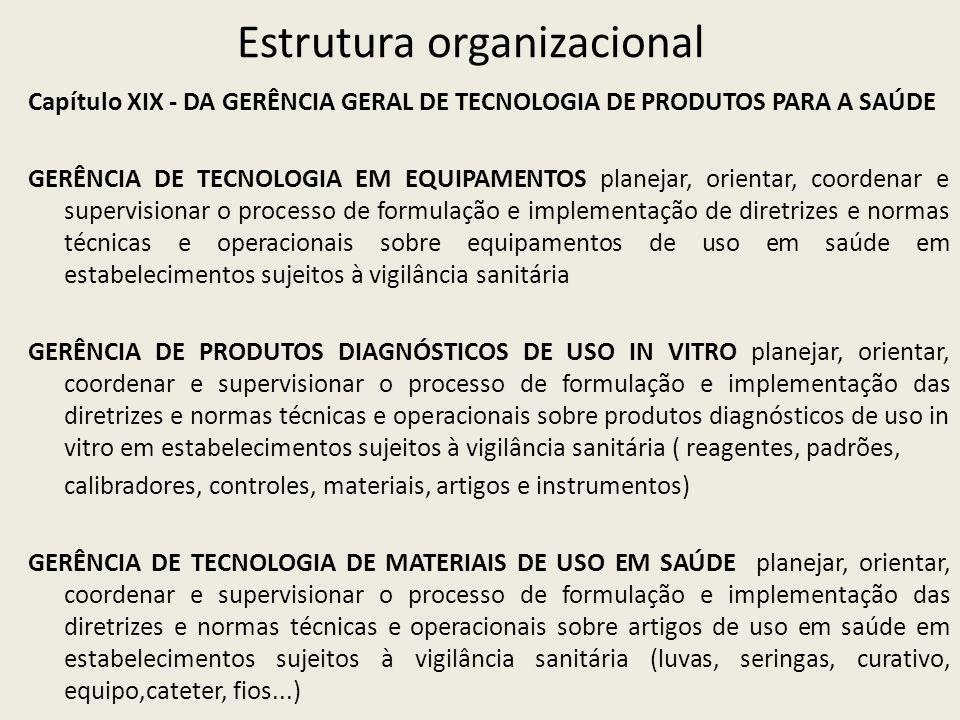 Estrutura organizacional Capítulo XIX - DA GERÊNCIA GERAL DE TECNOLOGIA DE PRODUTOS PARA A SAÚDE GERÊNCIA DE TECNOLOGIA EM EQUIPAMENTOS planejar, orientar, coordenar e supervisionar o processo de formulação e implementação de diretrizes e normas técnicas e operacionais sobre equipamentos de uso em saúde em estabelecimentos sujeitos à vigilância sanitária GERÊNCIA DE PRODUTOS DIAGNÓSTICOS DE USO IN VITRO planejar, orientar, coordenar e supervisionar o processo de formulação e implementação das diretrizes e normas técnicas e operacionais sobre produtos diagnósticos de uso in vitro em estabelecimentos sujeitos à vigilância sanitária ( reagentes, padrões, calibradores, controles, materiais, artigos e instrumentos) GERÊNCIA DE TECNOLOGIA DE MATERIAIS DE USO EM SAÚDE planejar, orientar, coordenar e supervisionar o processo de formulação e implementação das diretrizes e normas técnicas e operacionais sobre artigos de uso em saúde em estabelecimentos sujeitos à vigilância sanitária (luvas, seringas, curativo, equipo,cateter, fios...)