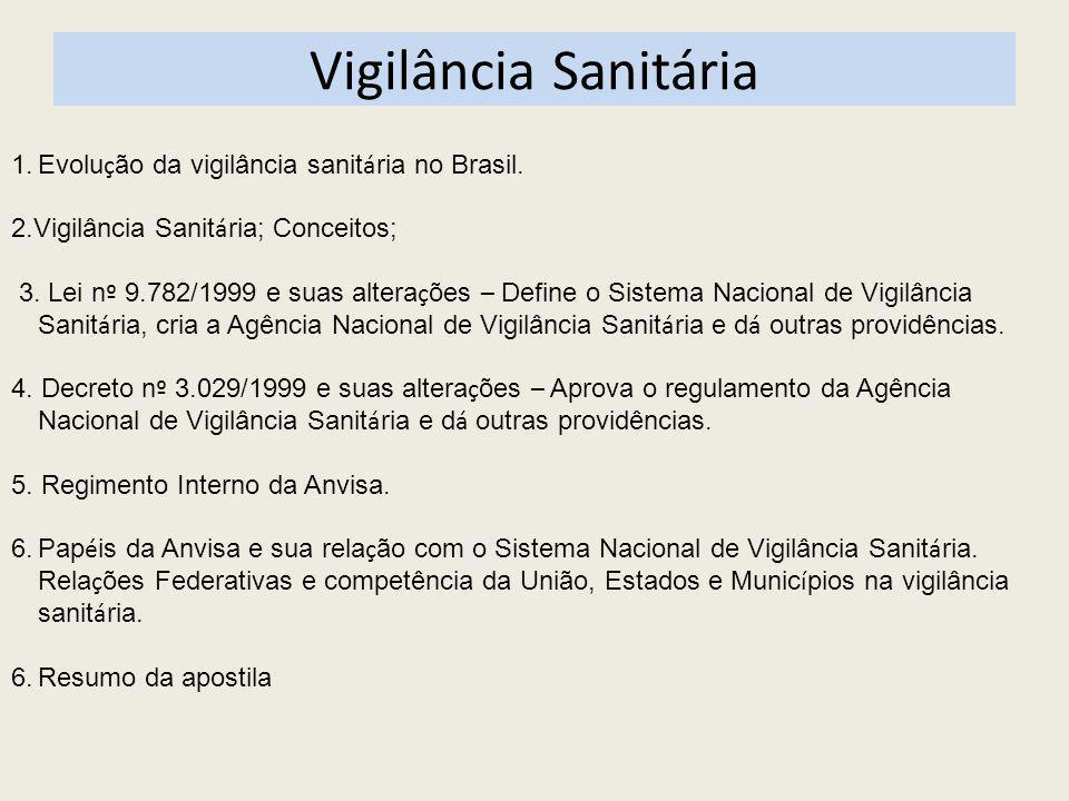 Vigilância Sanitária 1.Evolu ç ão da vigilância sanit á ria no Brasil. 2.Vigilância Sanit á ria; Conceitos; 3. Lei n º 9.782/1999 e suas altera ç ões