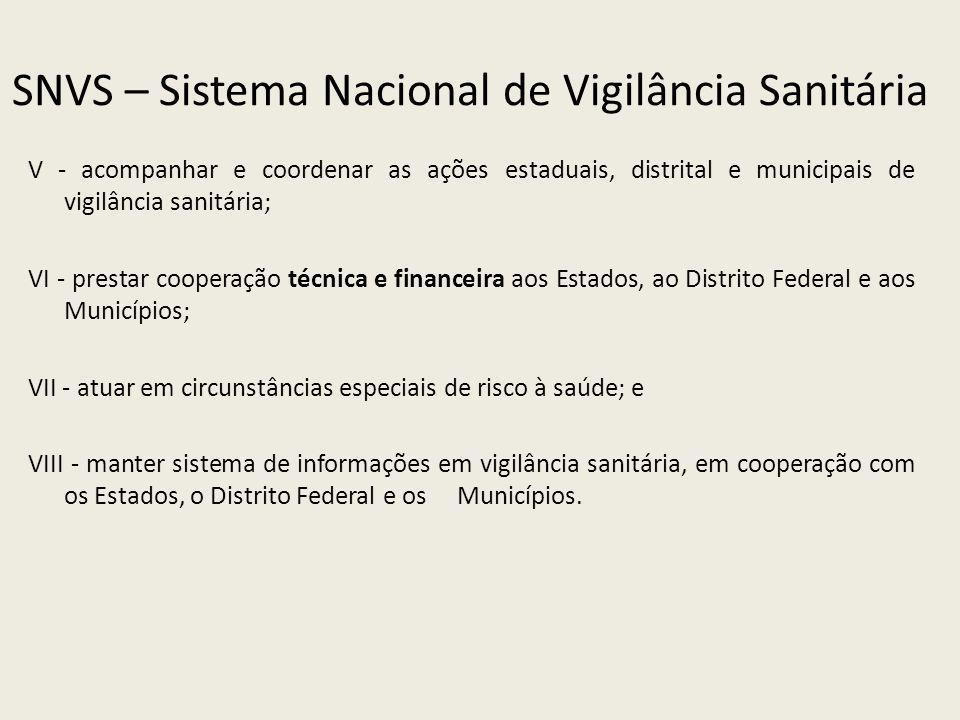 SNVS – Sistema Nacional de Vigilância Sanitária V - acompanhar e coordenar as ações estaduais, distrital e municipais de vigilância sanitária; VI - pr