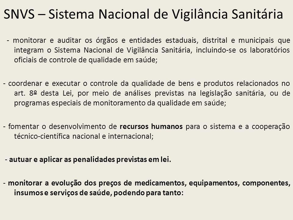 SNVS – Sistema Nacional de Vigilância Sanitária - monitorar e auditar os órgãos e entidades estaduais, distrital e municipais que integram o Sistema N