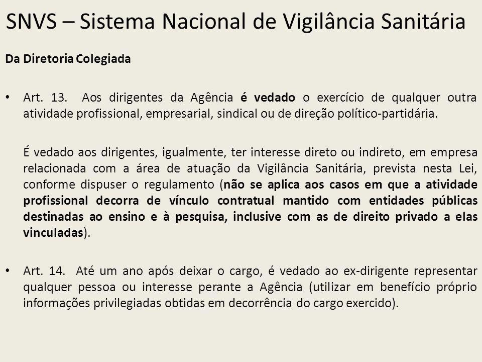 SNVS – Sistema Nacional de Vigilância Sanitária Da Diretoria Colegiada Art. 13. Aos dirigentes da Agência é vedado o exercício de qualquer outra ativi