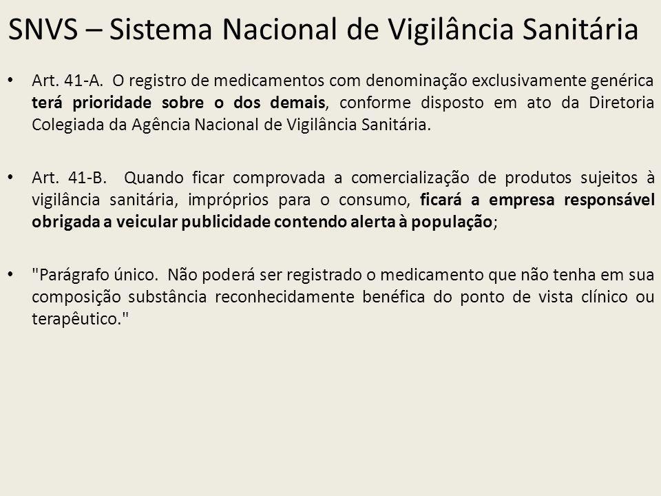 SNVS – Sistema Nacional de Vigilância Sanitária Art. 41-A. O registro de medicamentos com denominação exclusivamente genérica terá prioridade sobre o