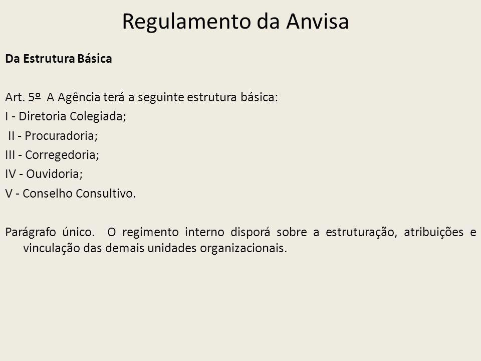 Regulamento da Anvisa Da Estrutura Básica Art. 5º A Agência terá a seguinte estrutura básica: I - Diretoria Colegiada; II - Procuradoria; III - Correg