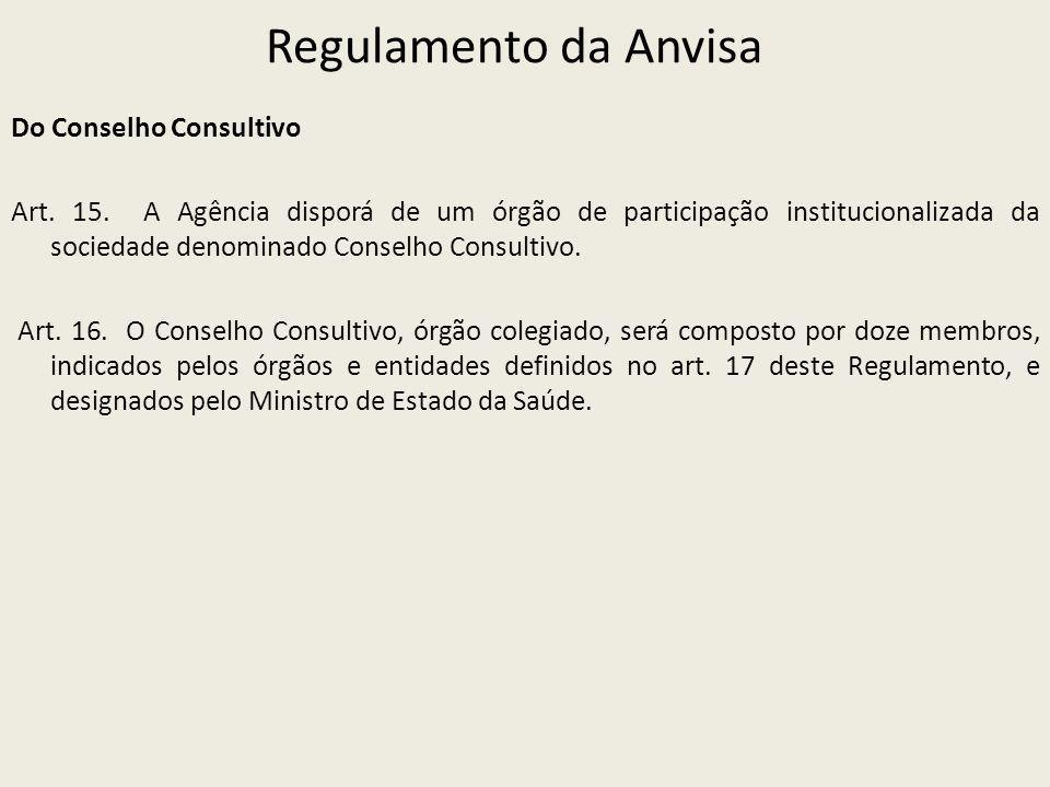 Regulamento da Anvisa Do Conselho Consultivo Art. 15. A Agência disporá de um órgão de participação institucionalizada da sociedade denominado Conselh