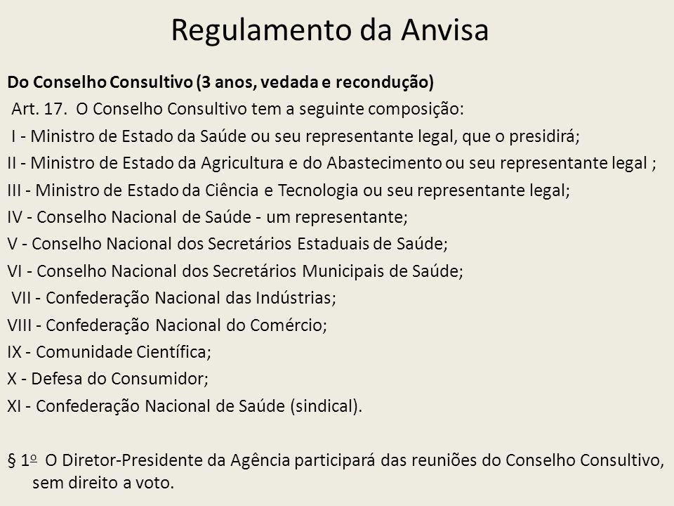 Regulamento da Anvisa Do Conselho Consultivo (3 anos, vedada e recondução) Art. 17. O Conselho Consultivo tem a seguinte composição: I - Ministro de E